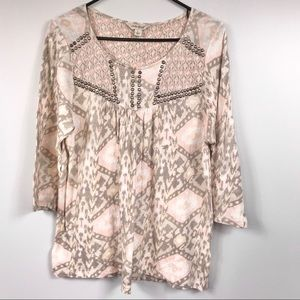 Lucky Brand Pink Tan Tribal 3/4 Sleeve Top Size L
